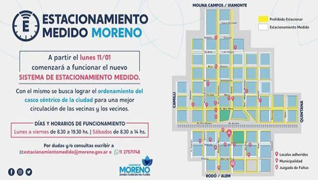 Moreno tiene nuevo sistema de estacionamiento medido