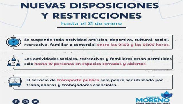 Nuevas disposiciones y restricciones hasta el 31 de enero