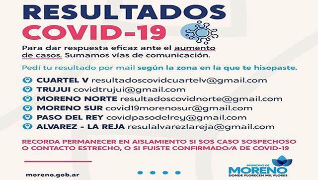 Dónde solicitar los resultados Covid-19 en Moreno