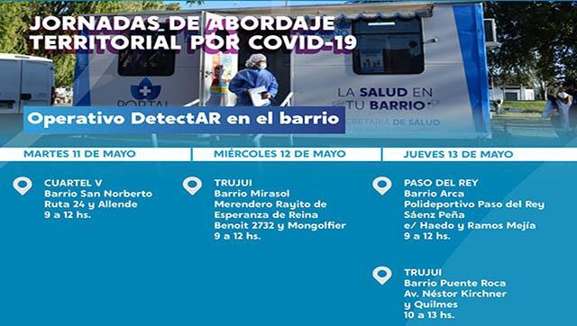 Cronograma de los operativos DETECTAR esta semana en Moreno