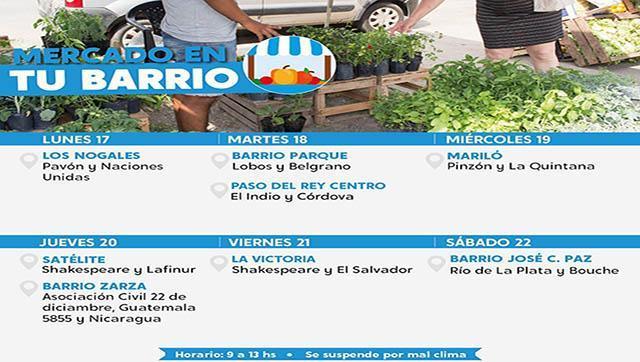 """Calendario semanal de """"Mercado en tu barrio"""" en Moreno"""