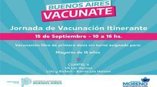 Vacunación libre para mayores de 18 en Cuartel V
