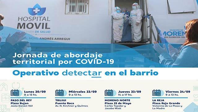 Operativo Detectar para esta semana en Moreno